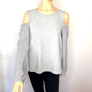 Vince Camuto jersey blouse combo off shoulders LG